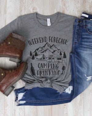 Distracted - Weekend Forecast Camping With A Chance of Drinking Graphic Tee