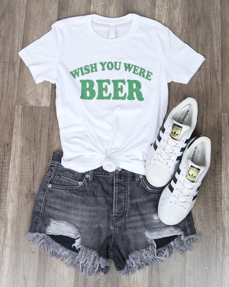 Distracted - Wish You Were - Saint Patrick's Day Fitted Ringspun Cotton Tshirt - White