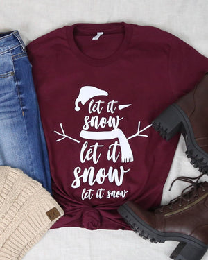 Distracted T Shirt - Let it Snow Snowman Shirt for Christmas