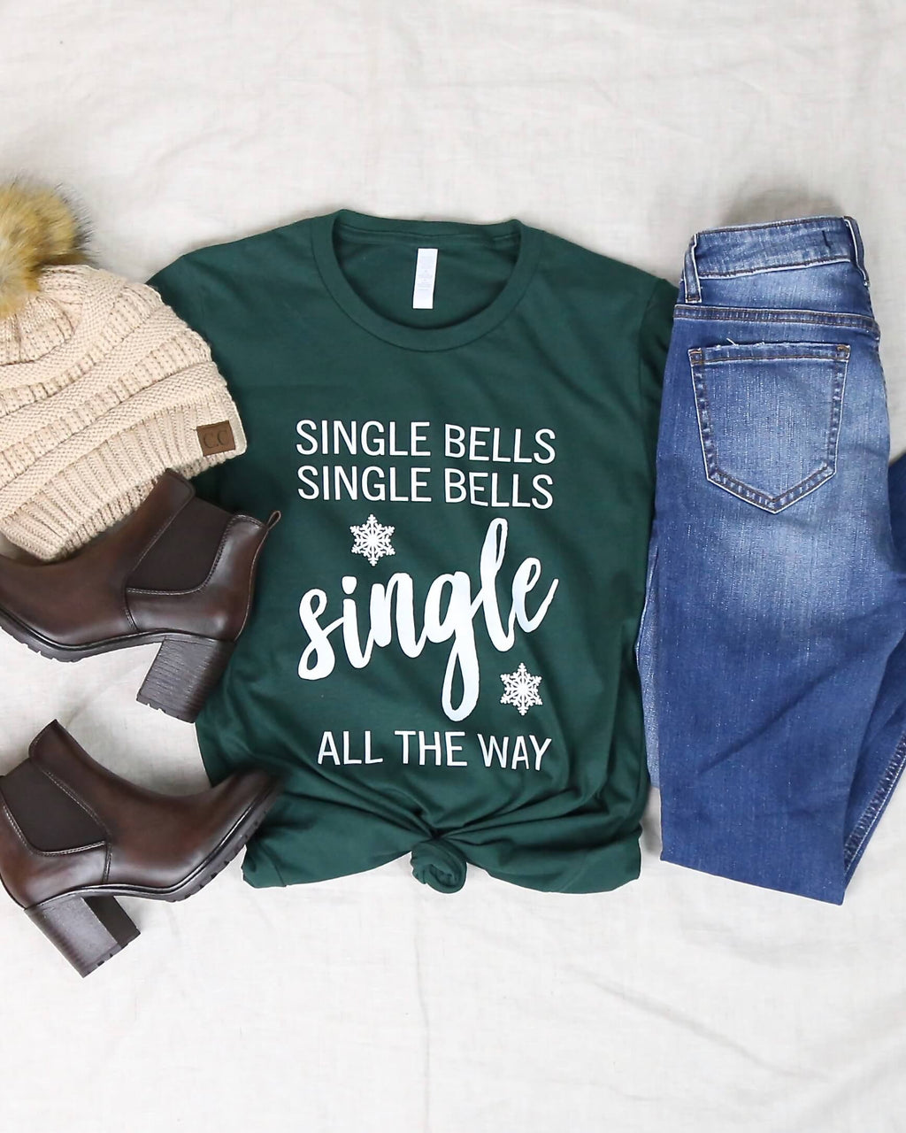 Distracted T Shirt - Single Bells Single All The Way Funny Christmas Dating Tee
