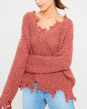 Distressed Hem Popcorn Yarn Knit V-Neck Sweater - Brick
