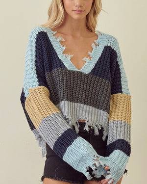 Distressed V Neck Cropped Knit Pullover Sweater - Blue/Grey