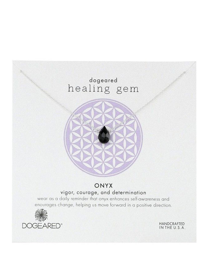 Dogeared - Healing Gem Onyx Pendant Sterling Silver Necklace 16""