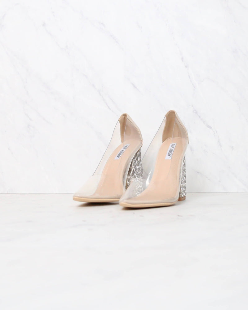 Cape Robbin - Don't Sugar Coat It Transparent Chunky Rhinestone Heels