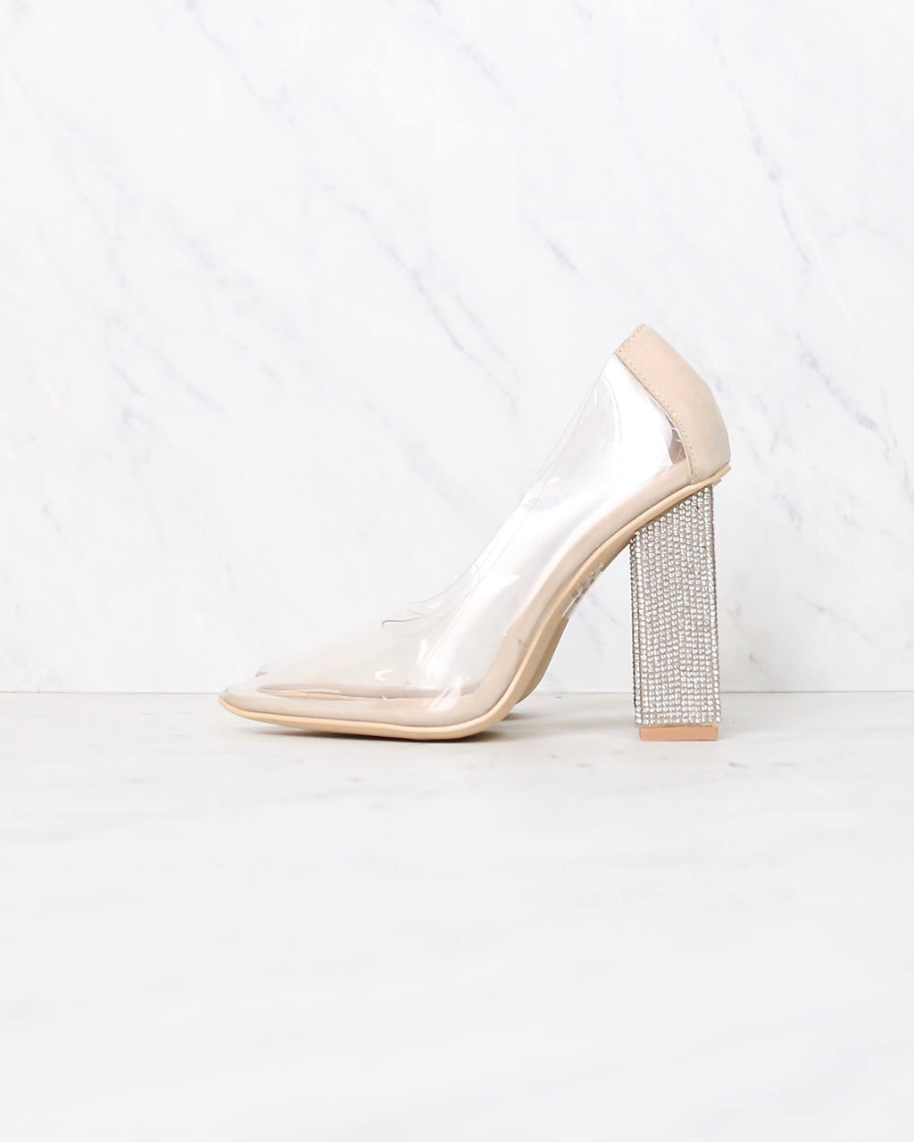 Don't Sugar Coat It Transparent Chunky Rhinestone Heels