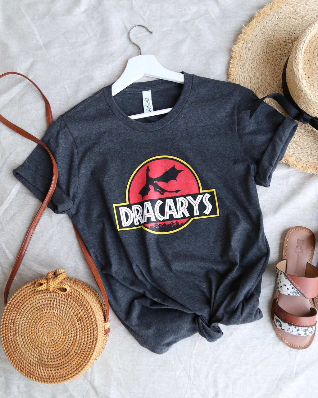 Distracted - Dracarys Mother of Dragons Unisex T-Shirt in Dark Heather Grey