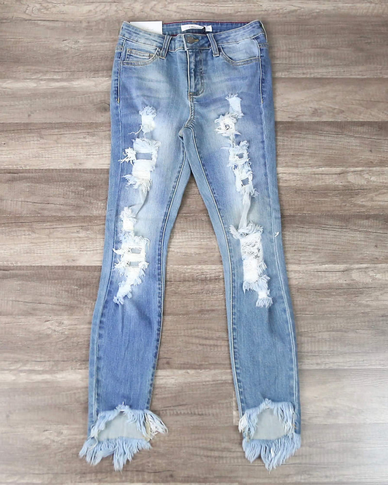 Stevie Destroyed Light Denim Wash Jeans with Frayed Hem