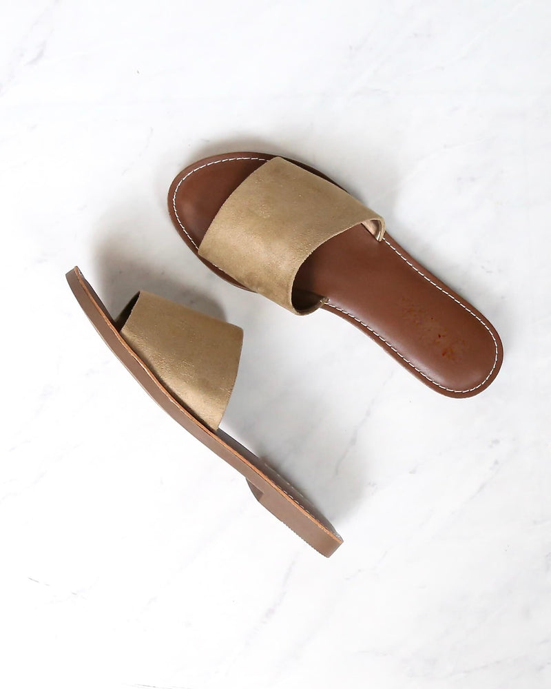 faux suede slip on sandal - more colors