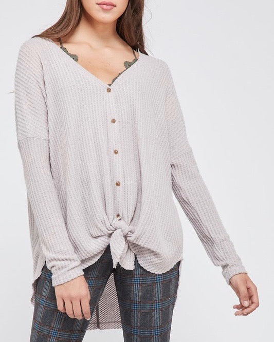 EVA - long sleeve thermal waffle knit v neck button down lightweight sweater - misty pink