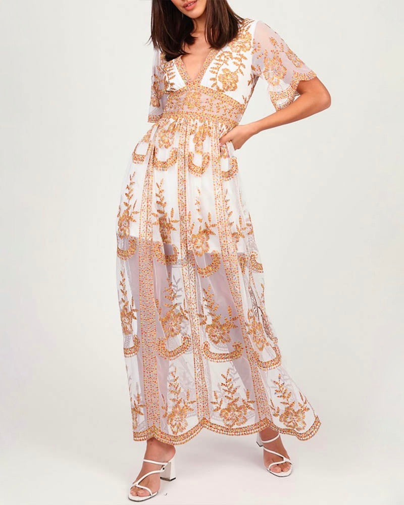 By My Side Embroidered Lace Maxi Dress in Ivory + Multi