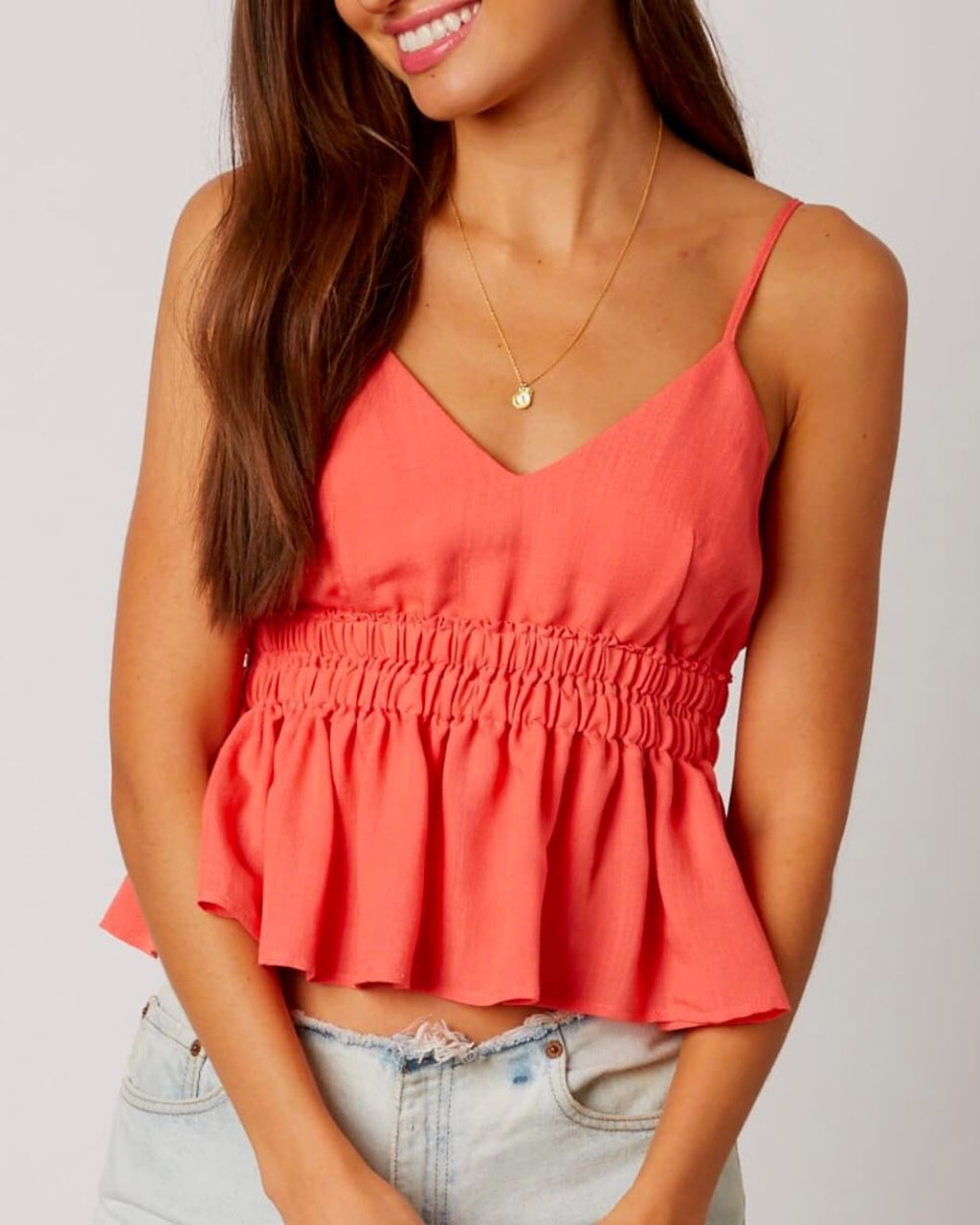 Empire Waist Ruffled Trim Cami in Coral
