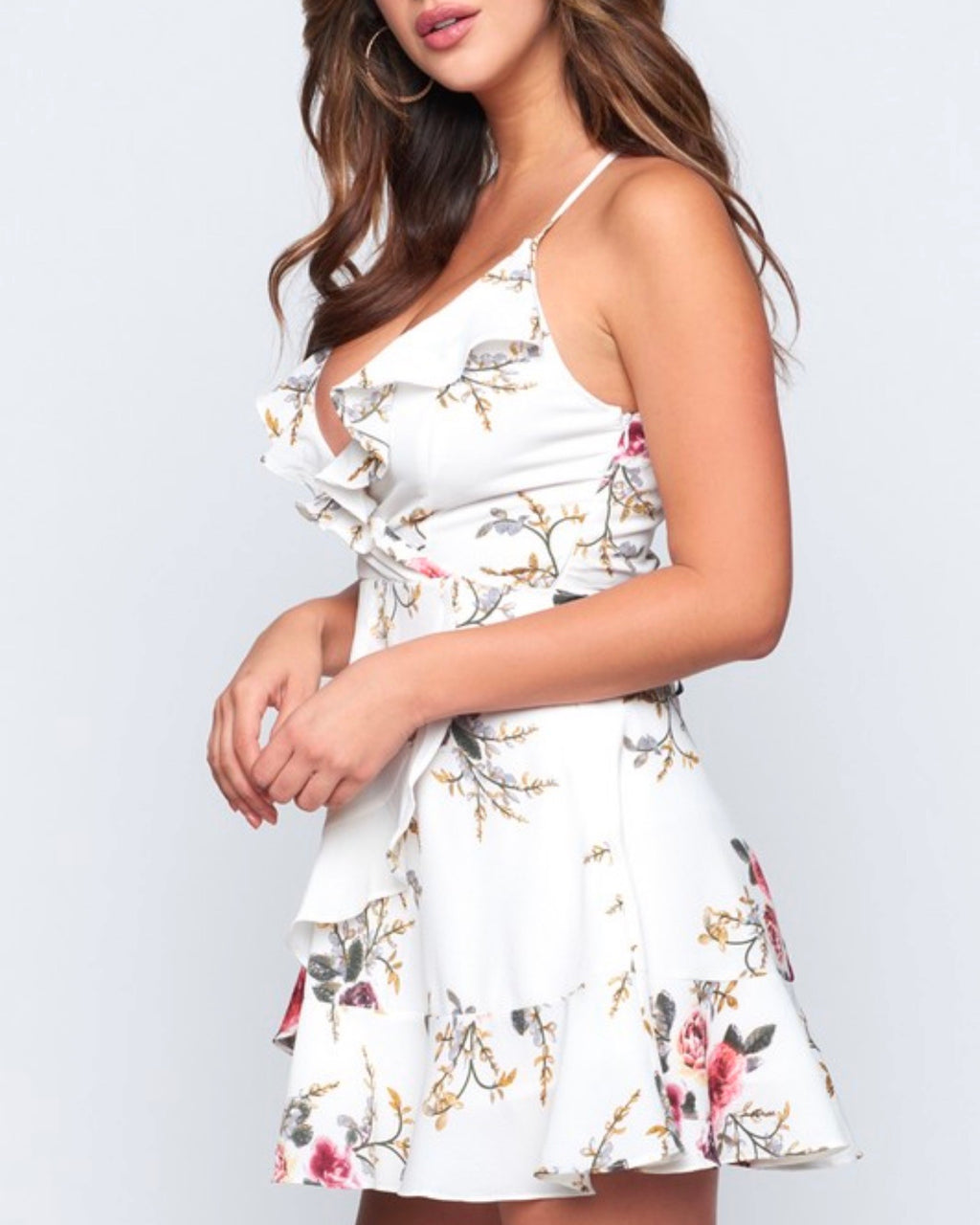Final Sale - Eve Floral Ruffle Wrap Mini Dress in White