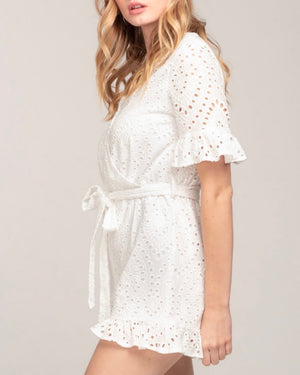 Everly - Eyelet Faux Wrap Cotton Romper with Ruffle Hem in White