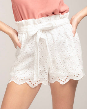 Everly - Eyelet Shorts with Belt in White