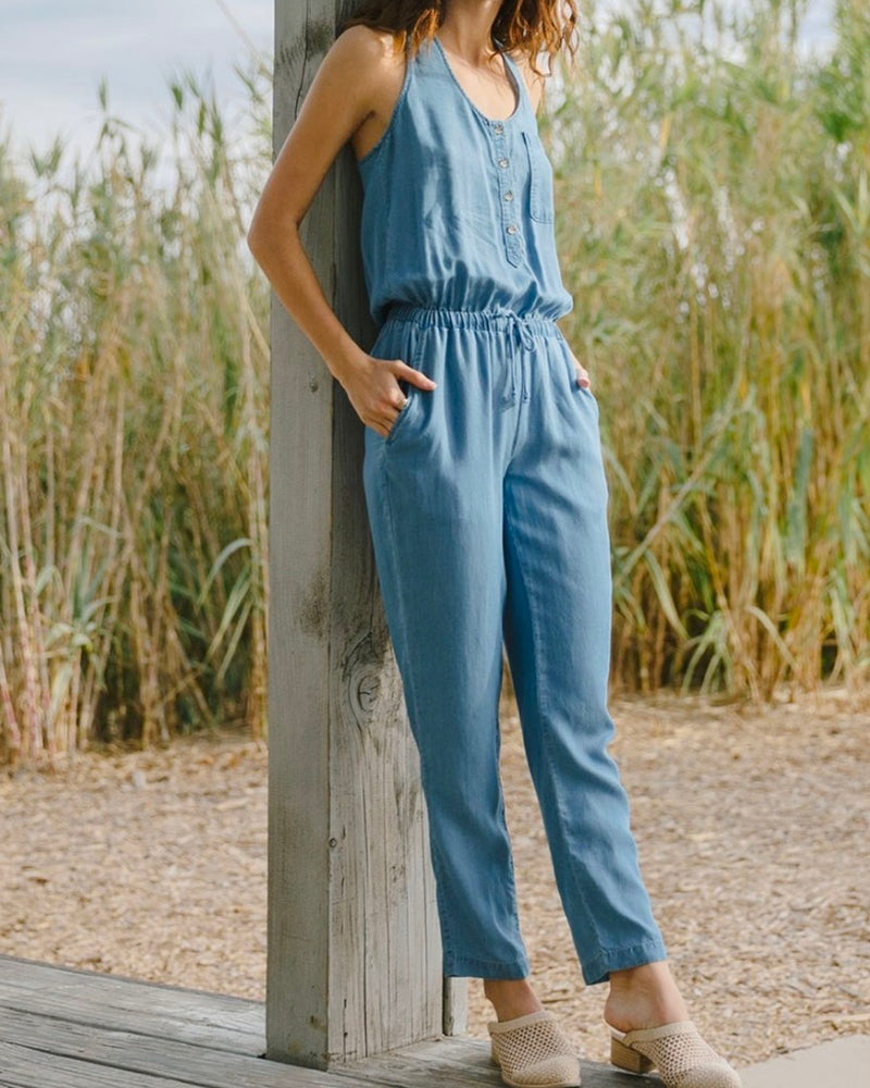 Final Sale - Everly - Soft Button Down Jumpsuit in Denim
