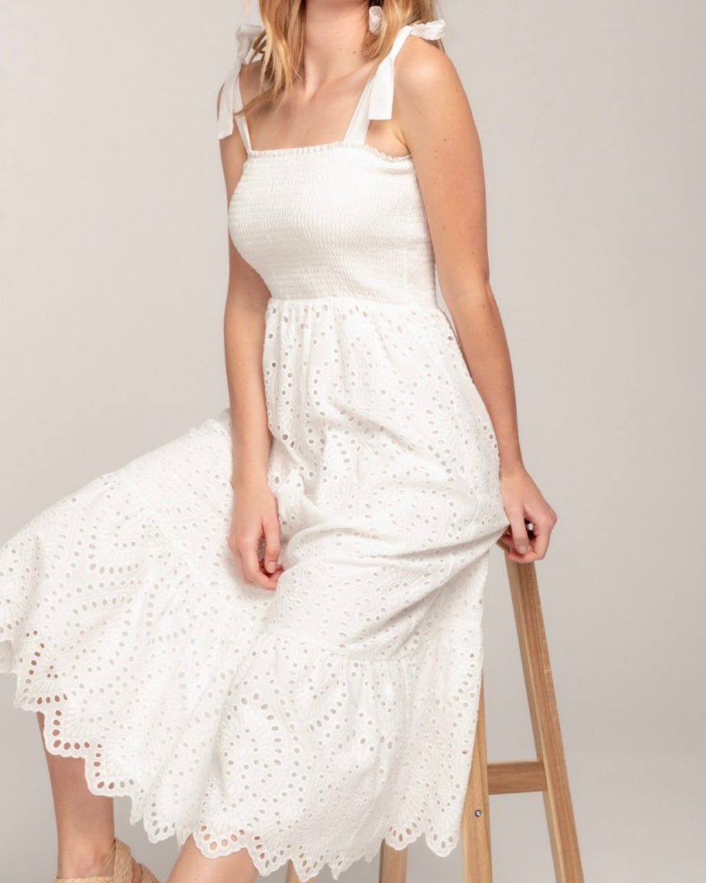 Everly - lovely lace smocked top eyelet midi maxi dress in white