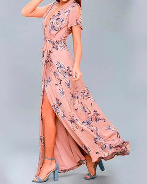 Floral Print Surplice Maxi Dress in Mauve