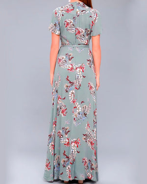 Floral Print Surplice Maxi Dress in Sage