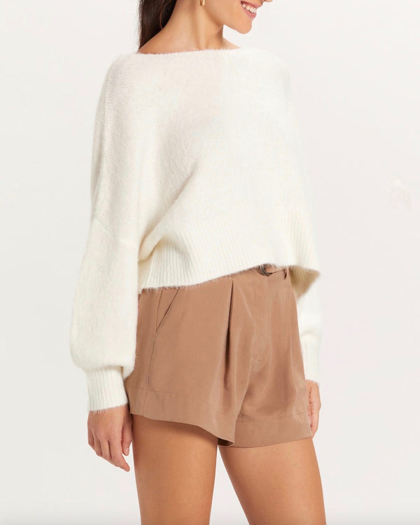 Francesca Fuzzy Knit Off The Shoulder Cropped Sweater in Ivory