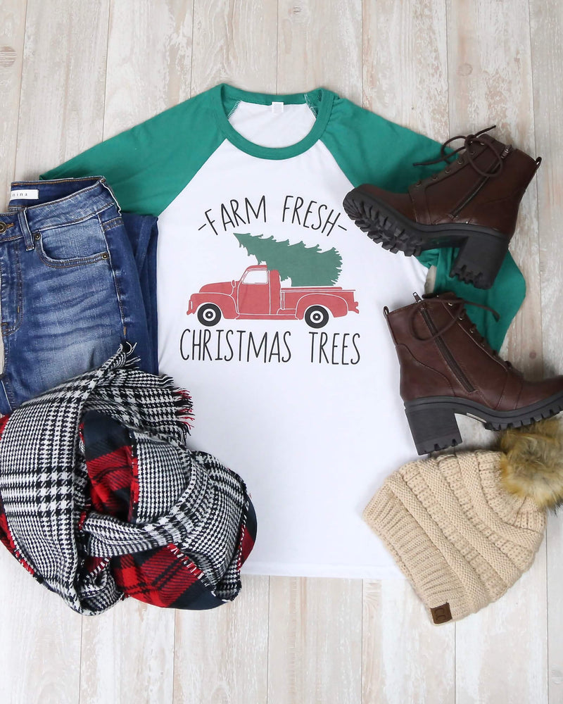 Distracted T Shirt - Farm Fresh Christmas Trees Quarter Sleeve Baseball Tee