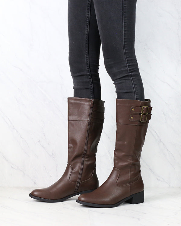 Faux Leather Knee High Riding Boots - Dark Brown
