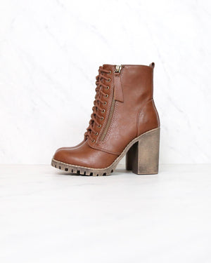 Faux Leather Lace Up Chunky Ankle Boot in TAN malia-s