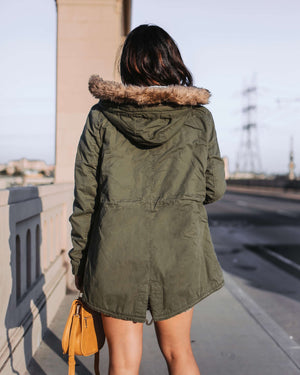 Faux Sherpa Lined Hooded Utility Parka Jacket With Removable Faux Fur Hood Trim in More Colors