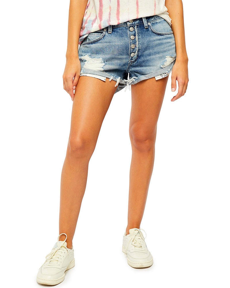 Free People - Romeo Rolled Cut Off Denim Shorts in Beach Break
