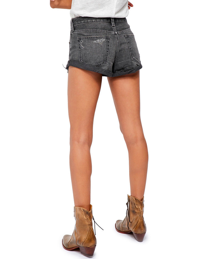 Free People - Romeo Rolled Cut Off Denim Shorts in Black