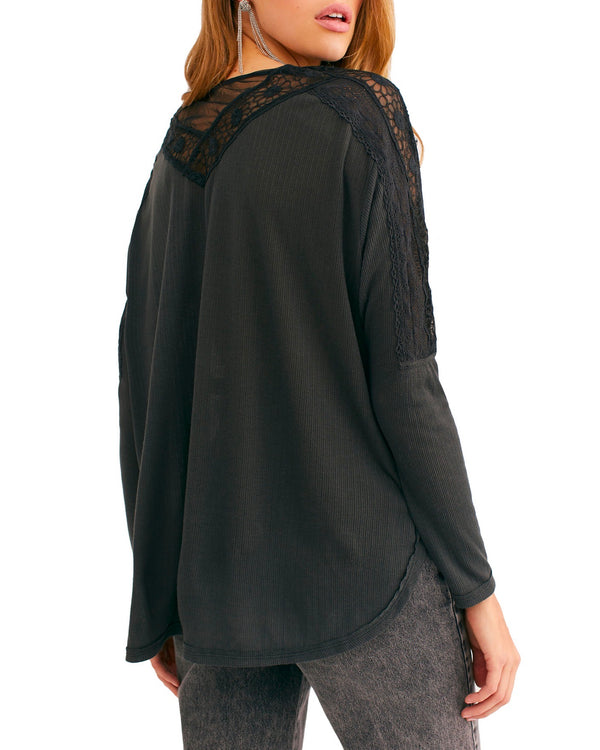 Free People - Lola Long Sleeve Top in Washed Black