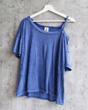 Free People - Alex Split Shoulder Tee - Blue Lagoon