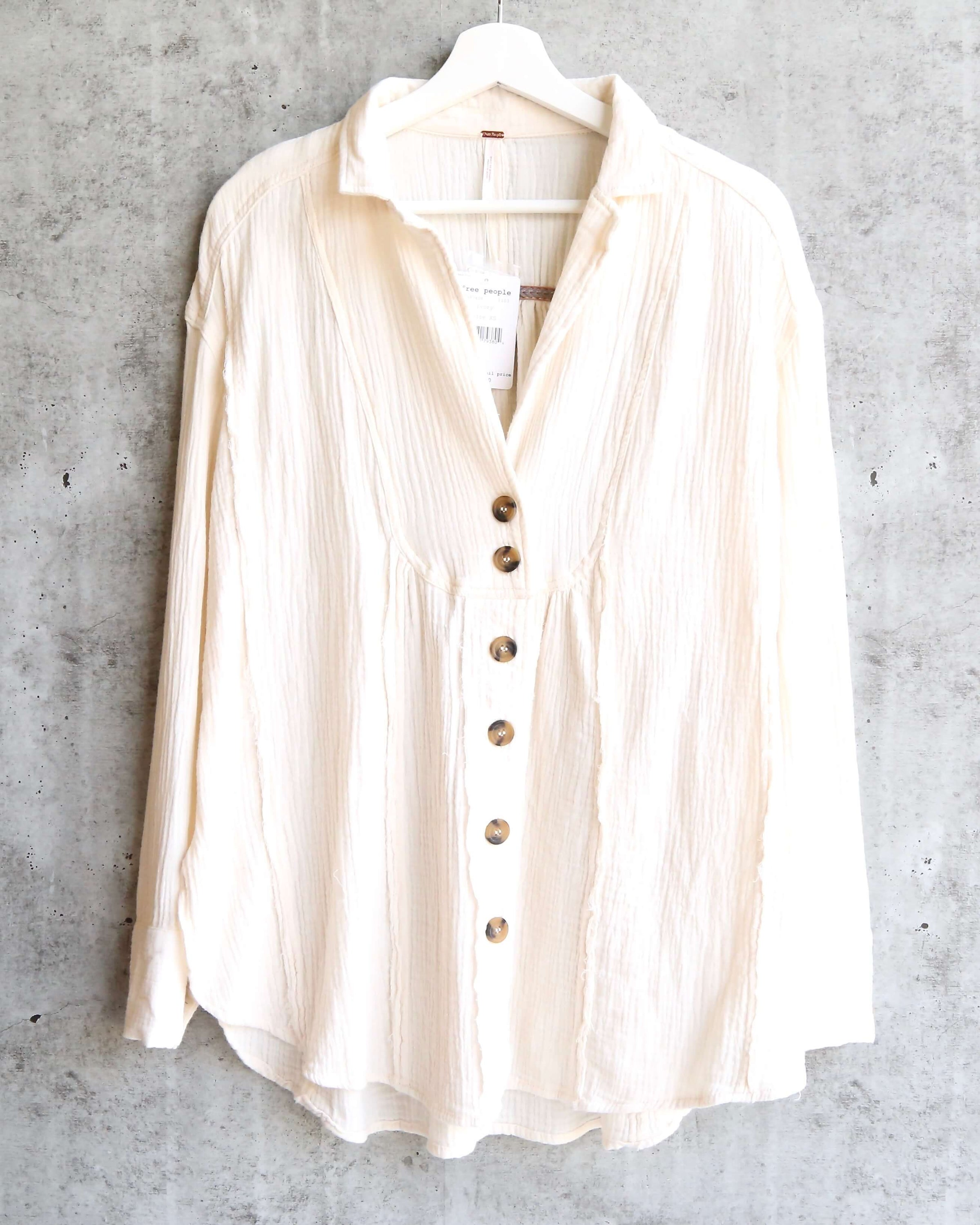 298351ce518e29 Free People - All About The Feels Linen Button Down Top - Ivory - XS - IVORY