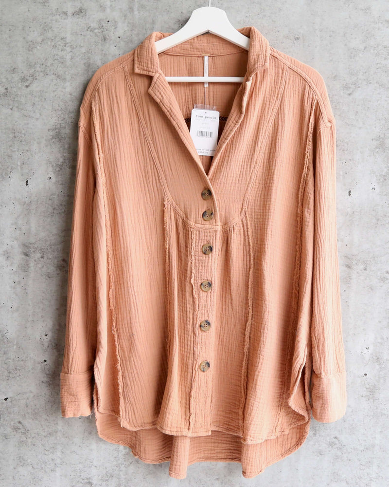 Free People - All About The Feels Linen Button Down Top - Peach