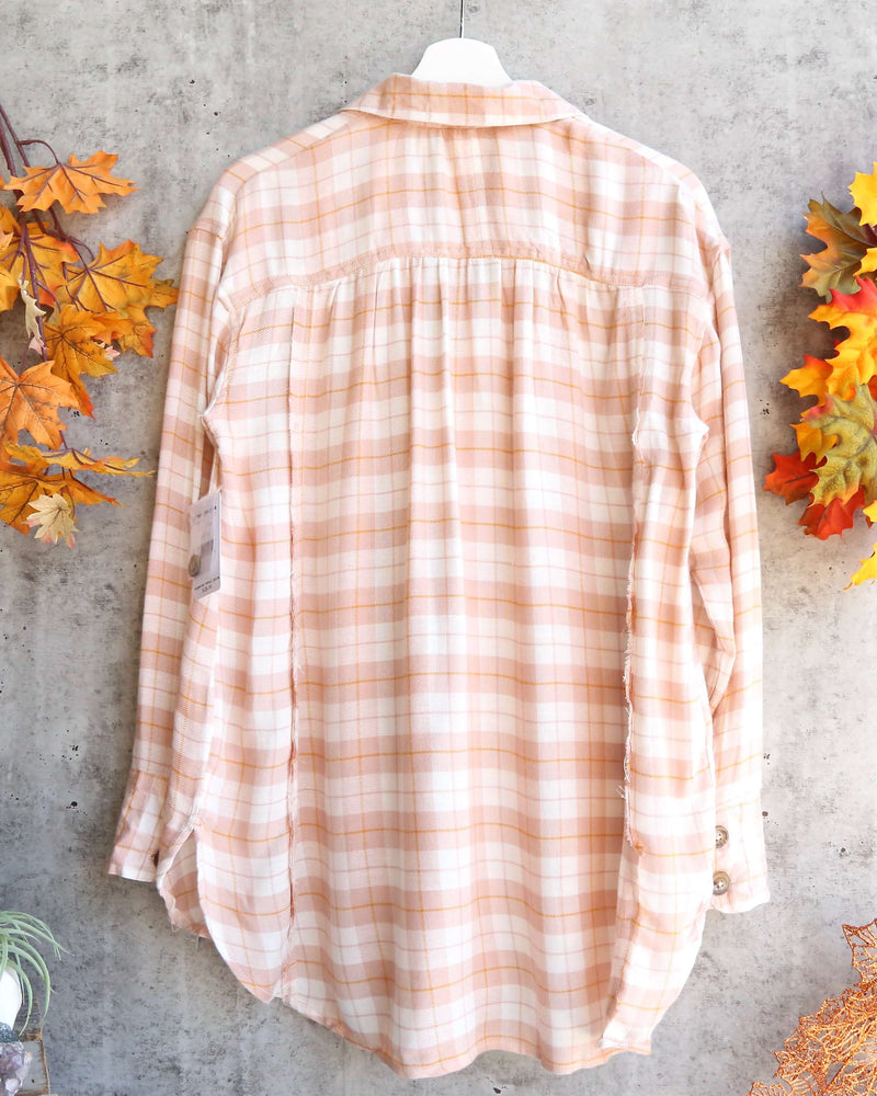 Free People - All about the feels plaid button down top - rose