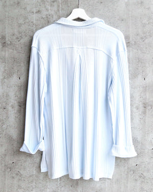 Free People - Annie Ribbed Long Sleeve Slouchy Pullover - Sky
