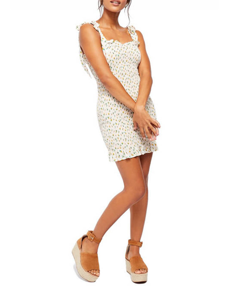 Free People - Bella Smocked Mini Dress in Ivory