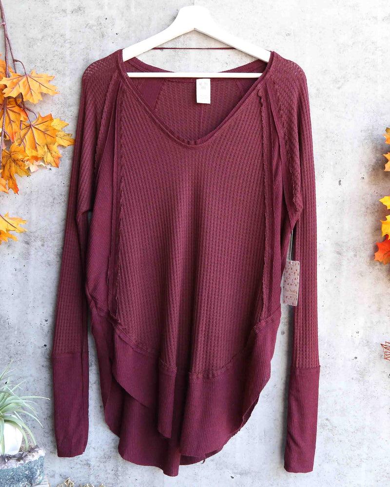Free People - Catalina long-sleeve thermal top - Plum Berry