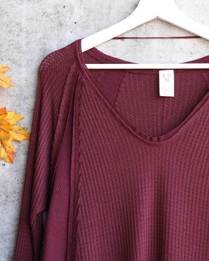 Free People - Catalina Long-Sleeve Thermal Top in Plumberry Heather