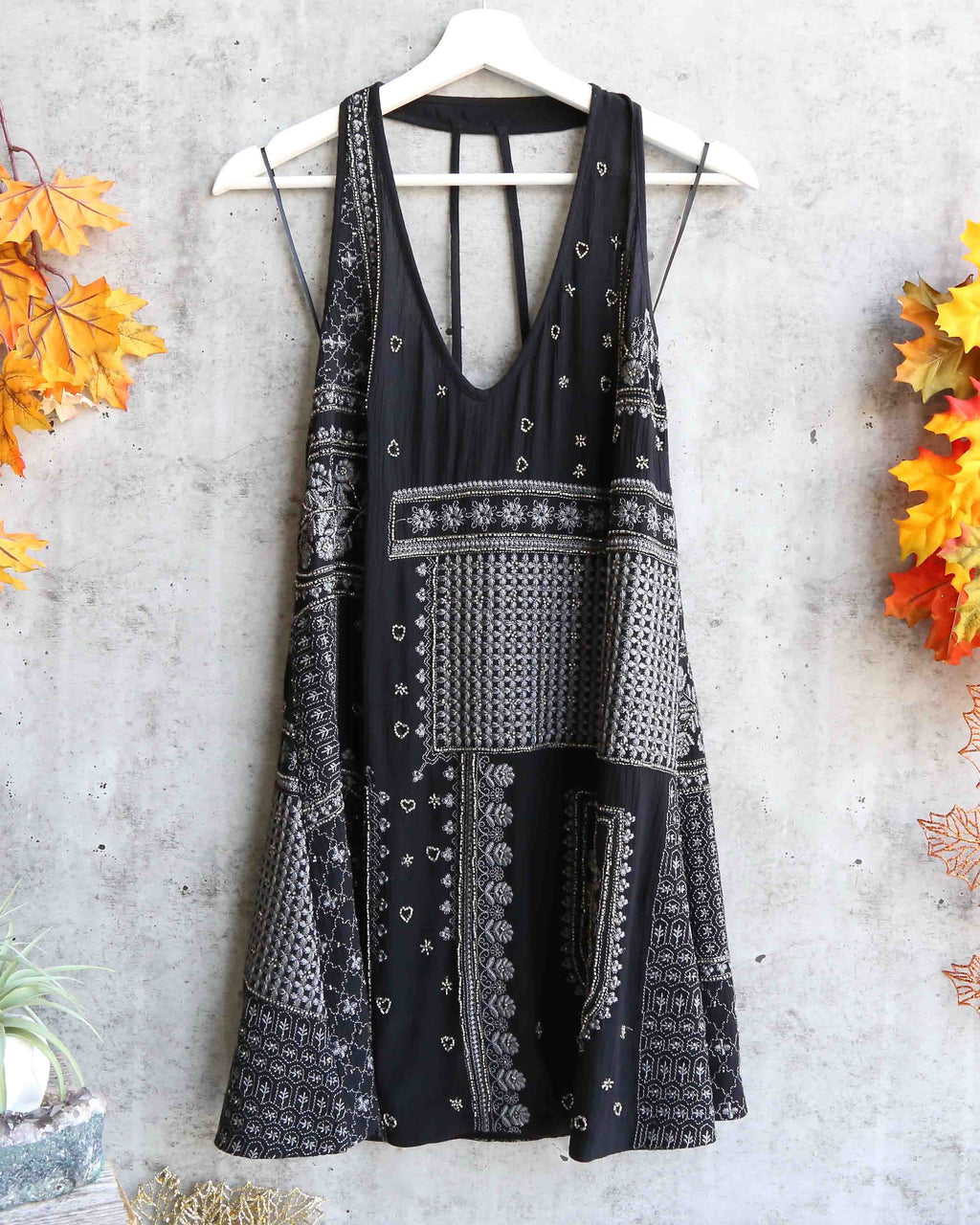 Free People - Country Nights Embellished Mini Slip Dress - Black