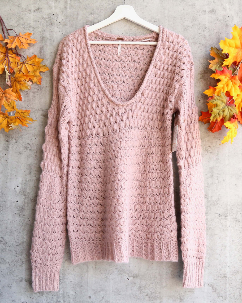 Free People - Crashing Waves Wool Blend Bishop Sleeve Chunky Knit Pullover Sweater - Mauve