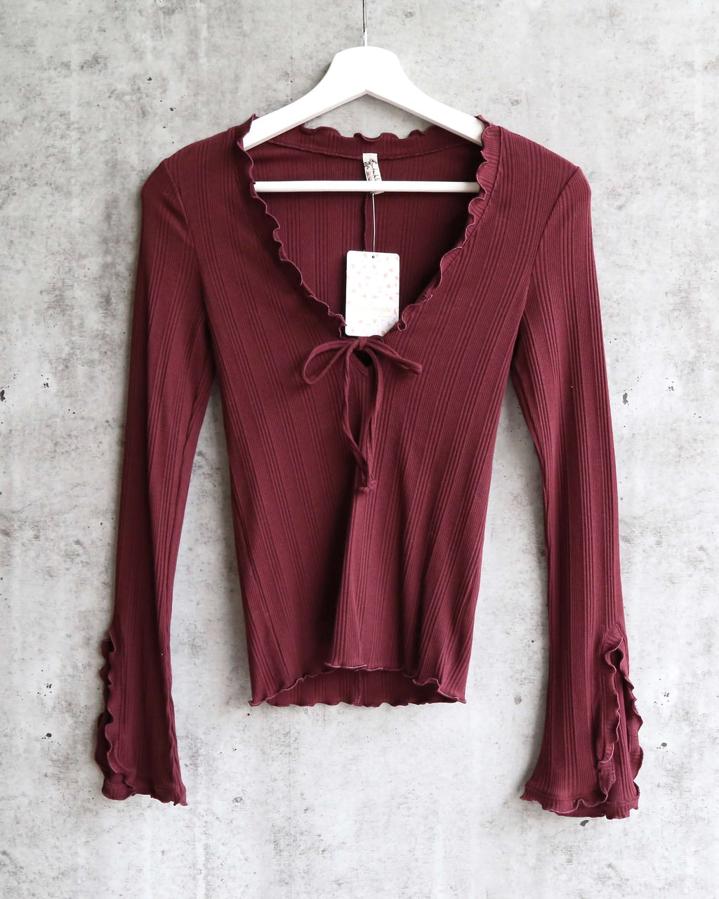 Free People - Fall for You stretch-jersey Long Sleeve top - Plum