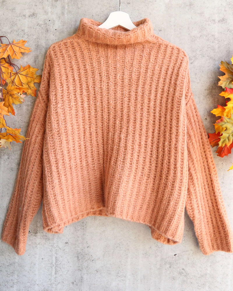 Free People - Fluffy Fox Chunky Wool Blend Oversized Turtleneck Sweater - Papaya