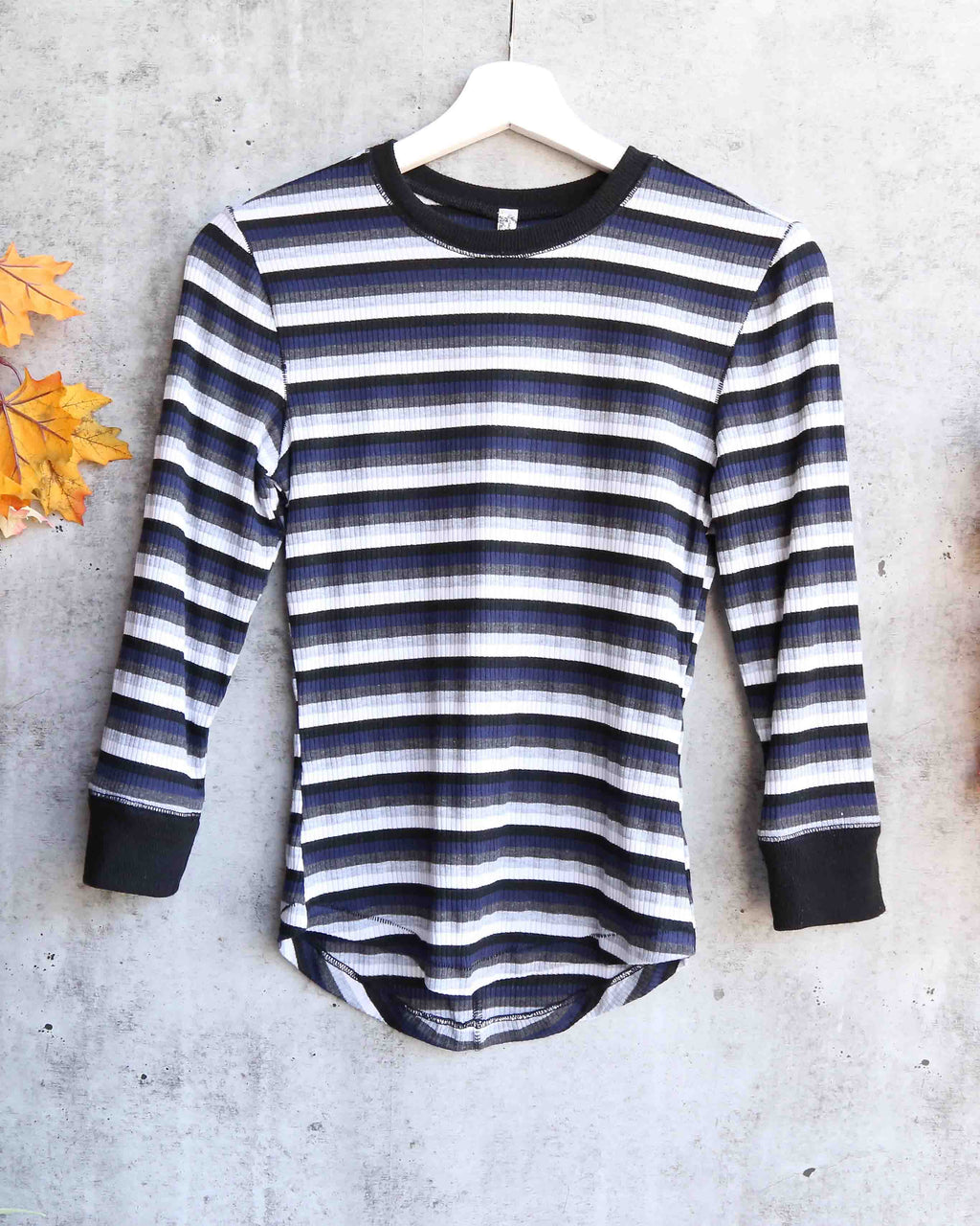 Free People - Good on You Stripe Long-Sleeve T-Shirt - overcast / grey