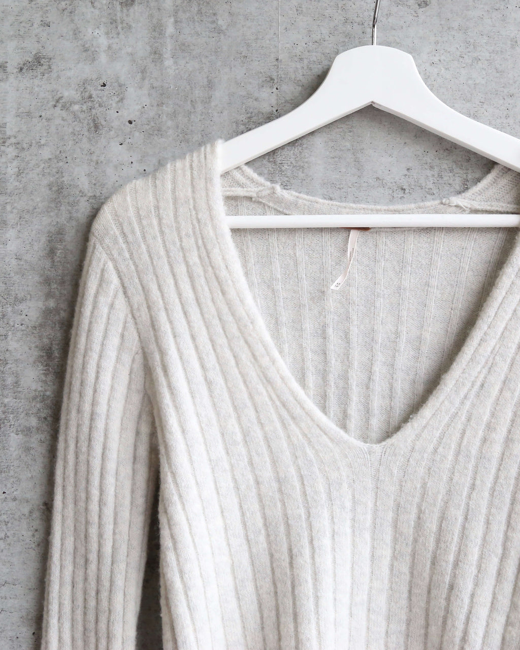Free People - May Morning Wool Blend Ribbed Striped Flutted Bell Sleeve Sweater - Neutral