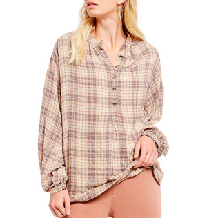 Free People - North Bound Pullover in Beige Plaid