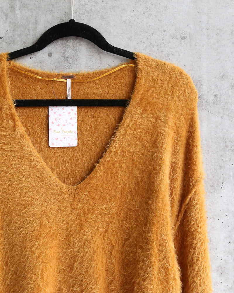Free People - Princess V Neck Fuzzy Sweater - Gold