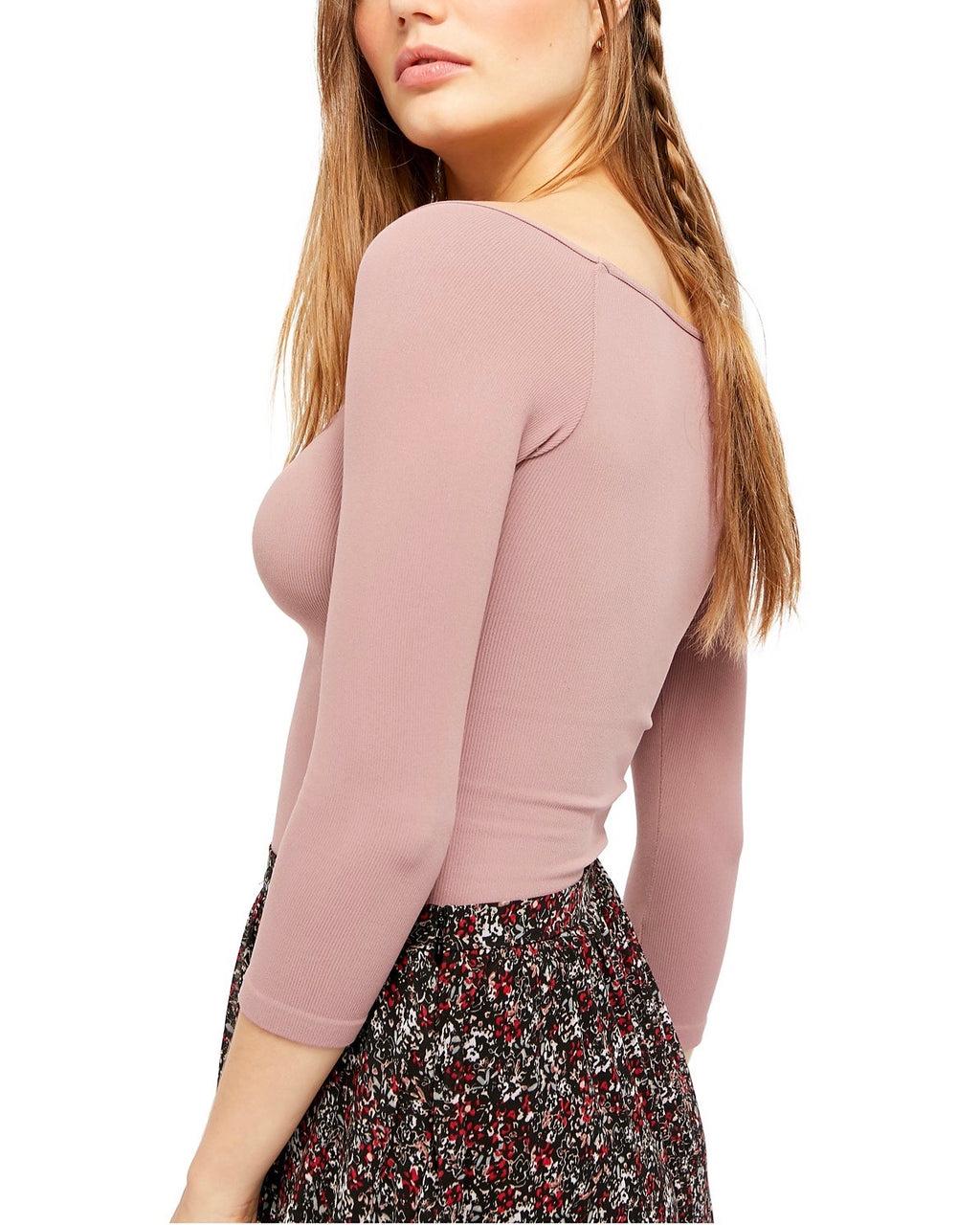 Free People - Square Neck 3/4 Sleeve Top in Mauve
