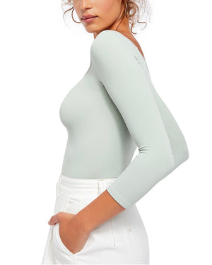 Free People - Square Neck 3/4 Sleeve Top in Sage