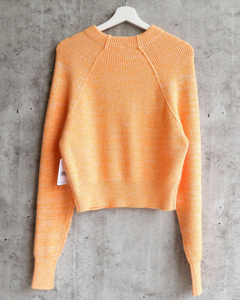 Free People - Too Good Ribbed Trim Pullover Sweater - Orange Zest