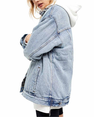 Free People - We The Free - Wild Ones Sherpa Trucker Denim Jacket